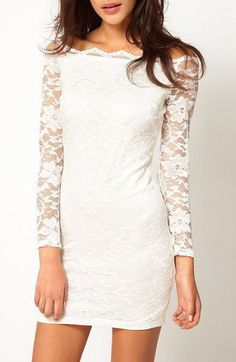 Gorgeous White, Boat Neck, Long Sleeve, Embroidery Lace Dress!!!! Love the neckline!
