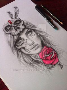 Skull Girl by EdwardMiller