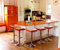 Retro Modern Kitchen with Orange Refrigerator by Big Chill