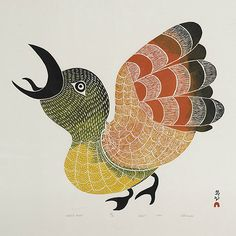 PITALOOSIE SAILA (1942-), E7-1006, Cape Dorset THE BIRD OF SARAGO stonecut 1972, 45/50