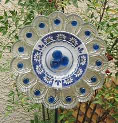 Blue Daisy Glass Flower Plate Garden Art by TheGlassDaisy on Etsy, $38.00