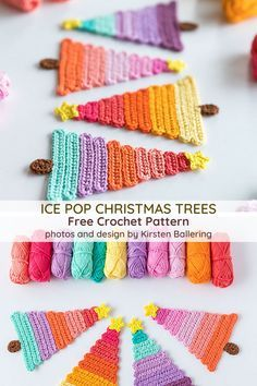 The Ice Pop Christmas Tree Is The Perfect Last-Minute Christmas Project! - Knit And Crochet Daily Crochet Christmas Decorations, Crochet Christmas Ornaments, Crochet Decoration, Christmas Crochet Patterns, Holiday Crochet, Christmas Knitting, Crochet Gifts, Crochet Blanket Patterns, Crochet Stitches