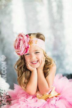 My baby girl! Photo compliments of Tara Swain Photography Pink and Gold Over the top Headband, Birthday Girl Headband, Oversized Pink Headband, Diva's Headband, Photo Prop, Shabby Headband on Etsy, $28.95