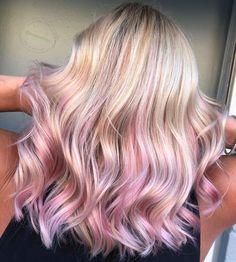 Summer time pink blonde You dont need vibrant vivids all the time you can still rock pastel vivids and still have some fun hair Blonde Hair With Pink Highlights, Pink Hair Streaks, Pink Blonde Hair, Pastel Pink Hair, Hair Color Purple, Hair Color And Cut, Hair Dye Colors, Cool Hair Color, Gold Hair Dye