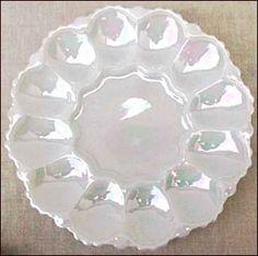Iridescent Milk Glass Egg Plate