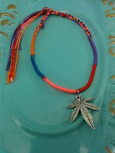Cannabis Leaf Rainbow Silk Macrame Hand-weave Friendship Bracelet. by CLOTHandPISTIL on Etsy