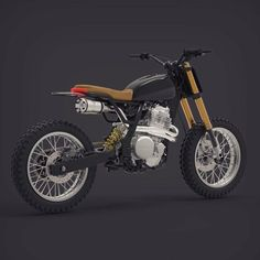When you like the LM colors and knobby tires but you are also in love with the LM high-end Ohlins/Bud Racing configuration . Tracker Motorcycle, Scrambler Motorcycle, Motorcycle Design, Bike Design, Scrambler Custom, Custom Motorcycles, Custom Bikes, Yamaha 250, Mechanical Horse