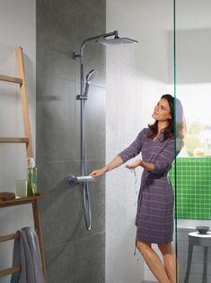 hansgrohe Showerpipe: Crometta E, 1 getto spray, 27271000 Dresses For Work, Bath, Shirt Dress, Shirts, Inspiration, Ideas, Fashion, Shopping, Columns