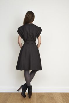 draped dress with grafic pleats in the back #NUSUM fall winter 1314 #fashion #style #look #lookbook #design #hamburg