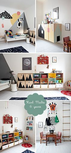 my room karl malte scandinavian boys bedroom white floorboards and customised furniture White Floorboards, Scandinavian Kids Rooms, Scandinavian Shelves, Scandinavian Style, Kids Room Design, Kid Spaces, Kids Furniture, White Furniture, Bedroom Furniture