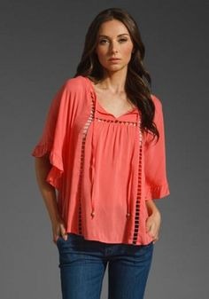Ella Moss Lucia Top In Coral by Ella Moss
