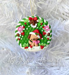 Handcrafted Polymer Clay Christmas Puppy Ornament