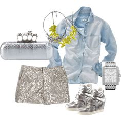 denim and diamonds by erbravo33 on Polyvore featuring Madewell, Ash, Alexander McQueen, Michael Kors, Forever 21, kors, alexander mcqueen, metallic wedge sneakers, silver sequin shorts and silver