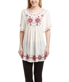 White Tapestry Embroidered Peasant Tunic