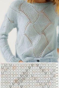 Lace Knitting Stitches, Knitting Charts, Sweater Knitting Patterns, Knitting Designs, Crochet Edging Patterns, Knit Fashion, Crochet Yarn, Knitted Hats, Sweaters