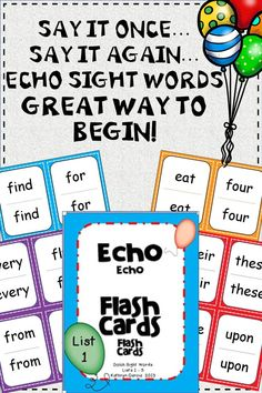 Perk up flash card drills with Echo Style practice.  Words are said twice so students who aren't as sure of themselves hear the word first before repeating it.  Also, the double visual reinforces the word.  Lots of fun ways to group kids to differentiate.  220 word cards in 5 lists included.  $