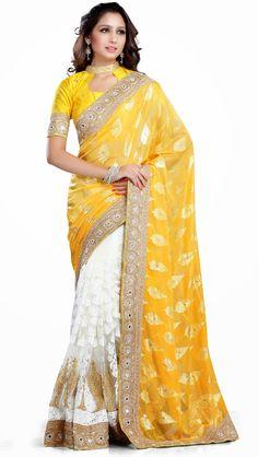 Yellow Soft Net Half and Half Wedding Saree