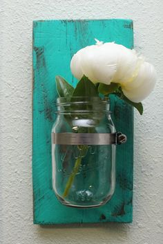 Reclaimed Wood Mason Jar Sconce Made to Order by MissMacie on Etsy