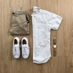 """596 Likes, 6 Comments - Mens Lifestyle Grids (@menslifestylegrids) on Instagram: """"Weekend Grid 👕👖👟⌚️ # Shirt: @niftygenius Truman SS Square Pocket (White Doby) Pants: @niftygenius…"""""""