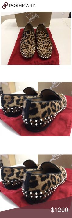 Christian louboutin men's size 43 cheetah print Cheetah print loafers spikes excellent condition preowned Christian louboutins size 43 100 percent authentic comes with box & dust bag red bottoms men's Shoes Loafers & Slip-Ons