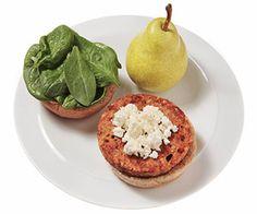 Lunch: 1 vegetarian burger 2 tablespoons feta cheese, crumbled 1/4 cup spinach 1 whole-wheat hamburger bun 1 small pear