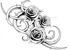 Black and White Roses Tattoo by GB_Art A vector illustration of cool roses with spikes tattoo