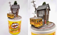 Repurposing everyday objects such as Pringles chips cans, old guitars, gumball vending machines and matchboxes, Japanese illustrator and...