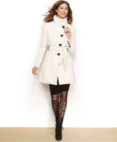 Steve Madden Drama Flared Funnel-Collar Coat - Coats - Women - Macy's
