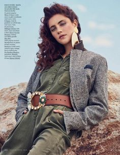 Model Anna Speckhart looks sharp in Z Zegna blazer over Tommy Hilfiger jumpsuit for Elle Italy Magazine October 2016 issue