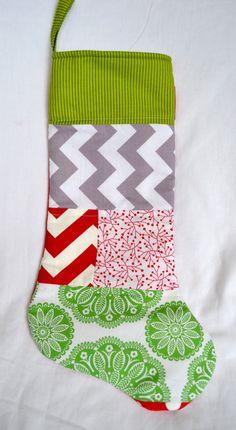 Modern Patchwork Christmas Stocking  Green Stripe by candyargyle, $24.00