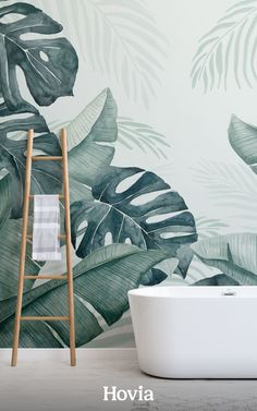 Weipa is a large-scale leafy wallpaper mural, full of refreshingly cool hues and tropical plant life. This gorgeous watercolor wall design is made up of huge hand-painted monstera, banana, and palm leaves. The background color is a light green, and the plants are washed with a dreamy mix of teal and turquoise tones. Paradise Wallpaper, World Map Wallpaper, Plant Wallpaper, Tropical Wallpaper, Forest Wallpaper, Beach Wallpaper, Tropical Leaves, Tropical Plants, Leaf Design
