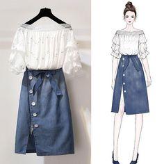 Korean Fashion – How to Dress up Korean Style – Designer Fashion Tips Fashion Drawing Dresses, Fashion Illustration Dresses, Fashion Dresses, Cute Fashion, Asian Fashion, Look Fashion, Fashion Ideas, Fashion Design Drawings, Fashion Sketches