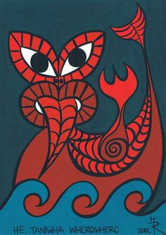 he taniwha whero by essencestudios Maori Designs, Tattoo Designs, Drawing For Kids, Art For Kids, Maori Legends, Waitangi Day, Maori Symbols, Primary School Art, New Zealand Art