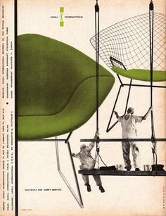 French advertisement for chair designed by Harry Bertoia, 1950s.
