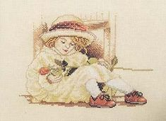 Cross stitch girl with flower.