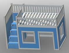 Ana White | Build a Full Size Playhouse Loft Bed with Storage Stairs | Free and Easy DIY Project and Furniture Plans