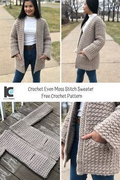 This Even Moss Stitch Sweater is beyond comfortable, warm, and the pockets are super practical. Better yet, it looks amazing! Crochet Coat, Crochet Cardigan Pattern, Crochet Shawl, Crochet Clothes, Crochet Patterns, Crochet Sweaters, Sewing Patterns, Skirt Patterns, Coat Patterns