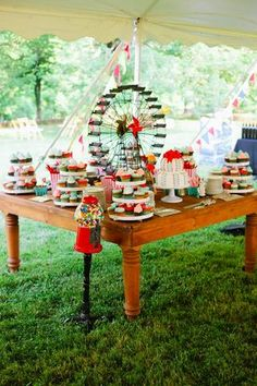 ferris wheel and gumball machine for a carnival themed dessert table!