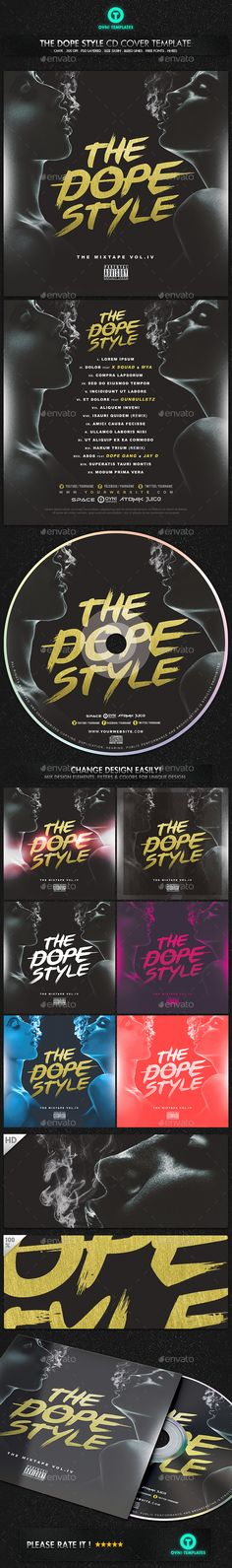 Dope Style Sexy CD Mixtape Cover Template PSD. Download here: http://graphicriver.net/item/dope-style-sexy-cd-mixtape-cover-template/14899377?ref=ksioks