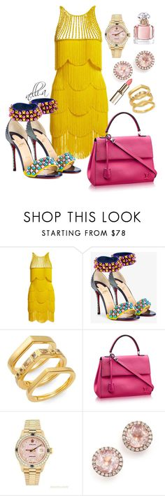 """Untitled #46"" by nelliii-a on Polyvore featuring Naeem Khan, Christian Louboutin, Elizabeth and James, Cluny, Rolex, Dana Rebecca Designs and Guerlain"