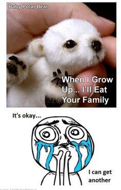 It's okay. hahahahaha. I laughed WAY to hard, so now it's your turn. Baby polar bear is so cute!