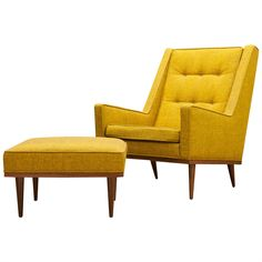Milo Baughman Highback Articulate Chair Ottoman James Inc. | From a unique collection of antique and modern wingback chairs at https://www.1stdibs.com/furniture/seating/wingback-chairs/
