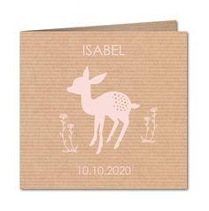 Voor jullie kleine bambi: geboortekaartje Crafty hertje (R-5005) Wissel het  roze voor een ander kleurtje om een een jongetjes of unisex kaartje van te maken.