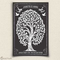 Guest Book Tree Alternative - Chalkboard Style Guest Book - Chalkwik Wedding Guest Book Tree - Peachwik Interactive Art Print - 225 guests