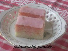 Jednoduché punčové rezy (fotorecept) - recept | Varecha.sk Ale, Cheesecake, Pudding, Punk, Food, Basket, Cheese Pies, Puddings, Ales