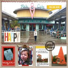 #papercraft #scrapbook #layout   Cars Land Disney scrapbook page layout