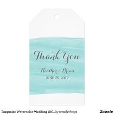 Turquoise Watercolor Wedding Gift Tags Pack Of Gift Tags