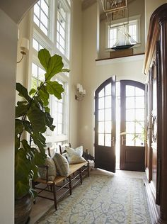 Double Front Doors - Design photos, ideas and inspiration. Amazing gallery of interior design and decorating ideas of Double Front Doors in home exteriors, decks/patios, porches, entrances/foyers by elite interior designers. Entrance Foyer, Entry Hallway, Grand Entrance, Entry Doors, Wood Doors, Grand Entryway, Main Entrance, Entry Rug, Style At Home