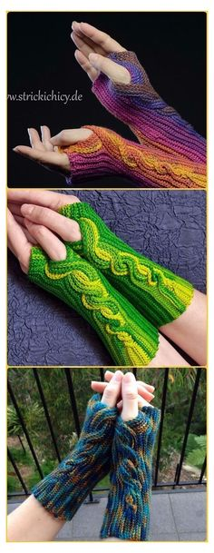 Crochet Arm Warmers, Crochet Mitts, Knit Or Crochet, Crochet Crafts, Crochet Projects, Free Crochet, Crochet Stitches, Crochet Fingerless Gloves Free Pattern, Hairpin Lace Crochet