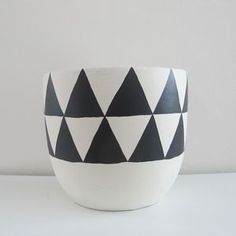 Image of 'aztec' charcoal hand-painted pot (small) Pop And Scott, Ceramic Plant Pots, Living Room Redo, Beautiful Space, Diy Painting, Aztec, Decorative Bowls, Diy Projects, Bows